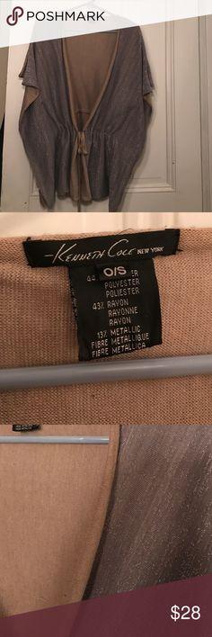 Silver/Beige Drawstring Kimono Top Silver/Beige Drawstring Kimono Top. One Size Fits All - Does run small. Kenneth Cole Tops