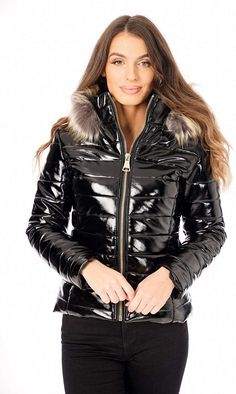 Womens Clothing Stores, Clothes For Women, Puffy Jacket, Winter Jackets Women, Casual Chic, Fur Trim, Leather Jacket, Total Black, Jackets