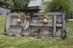 Door Headboard with built in sconces #DIY