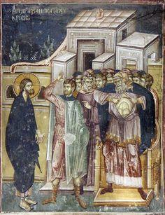 Christ before the high priest Caiaphas. Fresco Staro Nagorichno, Macedonia. XII-XIV century.