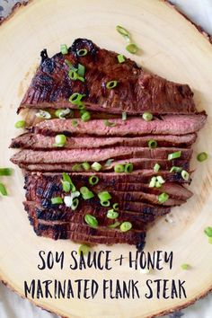 Extra Off Coupon So Cheap Soy Sauce & Honey Flank Steak. Marinated flank steak is a meal my whole family loves: soy sauce honey garlic and ginger pack a ton of flavor into a simple marinade. Flank Steak Tacos, Asian Flank Steak, Marinated Flank Steak, Steak Fajitas, Beef Flank, Grilling Recipes, Meat Recipes, Crockpot Flank Steak Recipes, Nature