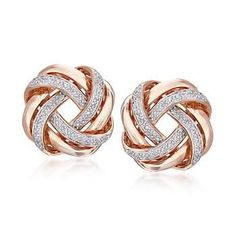Ross-Simons - .20 ct. t.w. Diamond Love Knot Earrings in 18kt Rose Gold Over…