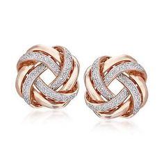 Ross-Simons - .20 ct. t.w. Diamond Love Knot Earrings in 18kt Rose Gold Over…