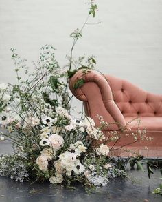 Wedding Flower Arrangements asymmetric loose and organic floral installation wedding reception drinks areas- lounge seating - Design Floral, Deco Floral, Arte Floral, Floral Wedding, Wedding Bouquets, Wedding Flowers, Floral Centerpieces, Floral Arrangements, Flower Installation