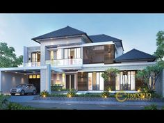 Indra Private House Design - Jakarta Selatan- Quality house design of architectural services, experienced professional Bali Villa Tropical designs from Emporio Architect. Modern House Facades, Modern Architecture, Cool House Designs, Modern House Design, Casas Country, Low Cost, Wallpaper Wall, Design Living Room, Design Bedroom