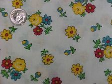 """Vintage Antique Cotton Quilt Doll Fabric Print 1920s Tiny Red Yellow Floral 35""""w"""