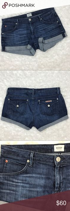 """Hudson Cuffed Denim Shorts Cuffed shorts from Hudson Jeans. 98% cotton and 2% spandex. Regular rise, button flap back pickets, zip fly. 2.5"""" inseam, 8.5"""" front rise, 17.5"""" waist laid flat. 12"""" leg opening. Hudson Jeans Shorts Jean Shorts"""