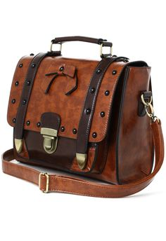 Studs Satchel Bag in Brown - Retro, Indie and Unique Fashion