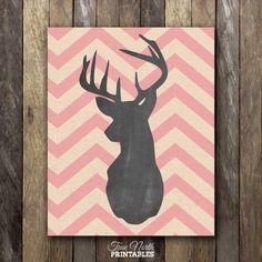 Chevron Deer Head Print  Pink Woodland Buck by NorthernRustication