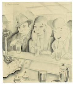 Jeanne Mammen (German, 1890 – 1976) - Juice Bar (Saftbar), 1930