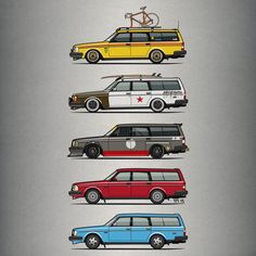 """A Stack of Volvo 245 Wagons"" Picture by monkeycrisisonmars buy now as poster, art print and greeting card.."