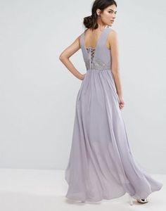 Y.A.S - Andra - Vestito lilla con laccetti Abito Ricamato 2e27e0dc2ad