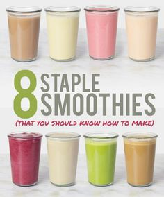 8 Staple Smoothies That You Should Know How to Make - 8 simple, quick and easy, healthy smoothie recipes. Acai Recipes, Easy Smoothie Recipes, Vitamix Recipes, Easy Smoothies, Breakfast Smoothies, Cooking Recipes, Making Smoothies, Yummy Drinks, Healthy Drinks