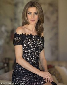 Lovely in lace: Princess Letizia in her favourite Felipe Varela guipure lace dress in her birthday portrait in 2012