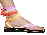 The ribbons on this pair of shoes can be tied many different ways, you can order other ribbon colors.... and they support a group of women in Africa who are interested in furthering their education.... it's a win-win-win!!