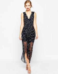 ASOS Mesh Plunge Diamonte Maxi Dress