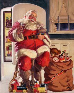 Santa taking a break..Looks like he is drinking a glass of coke..