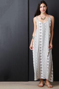 Tribal Print Lace Back Maxi Dress