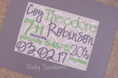 Birth Details Gift - Canvas Embroidery - Chevron Nursery - No Frame - Green Gray Nursery - New Parents Gift - New Baby Birth Gift Grey Chevron Nursery, Gifts For New Parents, Baby Birth, Green And Grey, Nursery Decor, Announcement, New Baby Products, Handmade Gifts, Frame