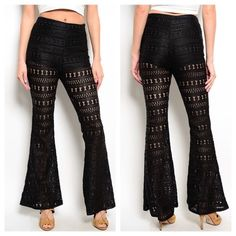 BLACK CROCHET PANTS Sexy flare hemline pants Fabric content: 100% milk fiber SIZE SMALL MEDIUM AND LARGE AVAILABLE!! ❤️NO TRADES ❤️ PRICE FIRM Pants Boot Cut & Flare