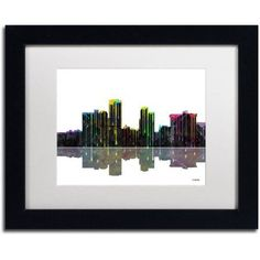 Trademark Fine Art Little Rock Arkansas Skyline II Canvas Art by Marlene Watson White Mat, Black Frame, Size: 16 x 20