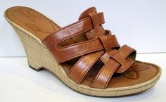 BORN 'Tinka' Rust Metallic Leather Slide Wedge Sandal Size 40.5/US 9 #Born #PlatformsWedges