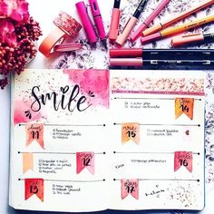 Laura Beautiful watercolor bullet journal spread in fall colors by through Bullet Journal 2019, Bullet Journal Notebook, Bullet Journal School, Bullet Journal Inspo, Bullet Journal Spread, Bullet Journal Layout, Bullet Journal Ideas Pages, Bullet Journals, Journal Inspiration