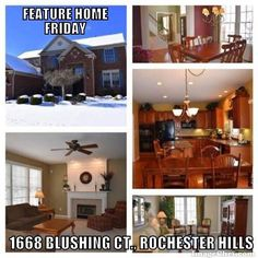 Feature Home Friday  1668 Blushing Ct. Rochester Hills Check out this superb Arcadia Park colonial in desirable cul-de-sac setting. Meticulously maintained with attention to detail to create a very efficient/cost effective home: Energy star custom JELD-WEN front door (2014) extra attic insulation (R55) Pella windows tinted for sun protection utility smart meter and more. Stunning two-story covered entry. Extensive molding and Hunter Douglas blinds t/o. 9 ceilings. Stylish neutral décor…
