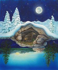 The Art of Cathy McClelland - Bear Dream Bear Spirit Animal, Spirit Bear, Bear Totem, American Indian Art, Bear Art, Cute Illustration, Stars And Moon, Folk Art, Fantasy Art