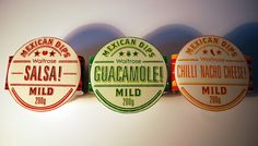 Nice use of color, typography, and negative space in this Mexican salsa, guac, and queso packaging.