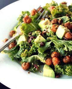 Kale Salad with Crispy Chickpeas is the perfect marriage of crunchy kale, crispy baked chickpeas and seeds, spicy seasoning and a dreamy, creamy dressing over all! Dairy Free Recipes, Real Food Recipes, Vegan Recipes, Vegan Food, Gluten Free, Kale Salad, Soup And Salad, Chickpea Salad, Clean Eating