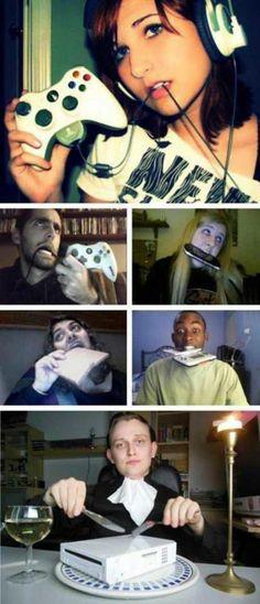 ♡ On Pinterest @ kitkatlovekesha ♡ ♡ Pin: Humor ~ Eating Gaming Devices ♡