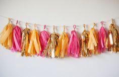 Yellow, Pink, Gold Tissue Paper Garland, Wedding Decoration, Birthday Decoration, Baby Shower Decoration, Valentines Day, Fringe Garland