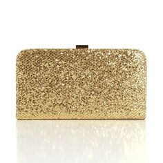 Gold Glitter Box Clutch ($25) ❤ liked on Polyvore