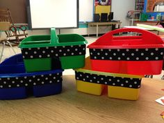 Hot glue gun + polka dotted ribbon = quick and easy supply bin makeover!!