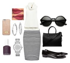 """""""Untitled #21"""" by sophiemily-1 on Polyvore featuring French Connection, White House Black Market, Yves Saint Laurent, Paul & Joe, Michael Kors, Essie, Blue Nile and MICHAEL Michael Kors"""