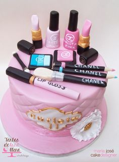 Makeup party cake make up Ideas Makeup Birthday Cakes, Birthday Wishes Cake, Cute Birthday Cakes, Teen Cakes, Girly Cakes, Fancy Cakes, Make Up Torte, Make Up Cake, Pretty Cakes