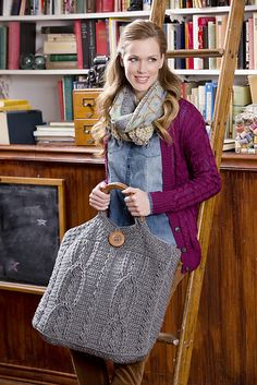Ravelry: Plus Size Cable Bag pattern by Brenda Bourg