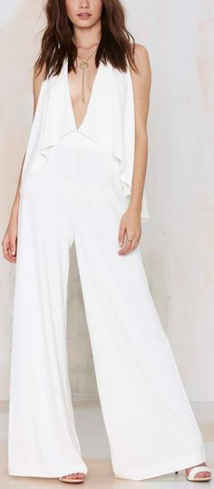 Cheap jumpsuit men, Buy Quality jumpsuit pant directly from China jumpsuit romper Suppliers: HDY Haoduoyi 2017 Fashion Women Loose V-neck Wide leg Pants Office lady Overalls Off shoulder rompers Jumpsuits for wholesale Cape Jumpsuit, Jumpsuit Dressy, Elegant Jumpsuit, Summer Jumpsuit, White Jumpsuit, Rompers Women, Jumpsuits For Women, Off Shoulder Jumpsuit, White Chiffon