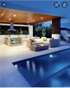Modern Living Pools Outdoor Design Modern Outdoor Kitchen, Pergola Patio, P. Modern Outdoor Kitchen, Outdoor Kitchen Bars, Outdoor Living, Outdoor Decor, Outdoor Ideas, Modern Pool House, Modern Pools, Backyard Pool Designs, Swimming Pool Designs