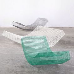 These curving loungers crafted from wire netting were designed for a dream house in Spain. Find out more on dezeen.com/design #design #furniture #chairs