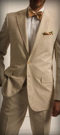 "Kleinfeld Men ""The Suit"" Sand Corded Cotton, notched lapel, 2 button Suit."