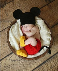 Baby Boy Mickey Mouse Set / Hat Diaper Cover & Boots /