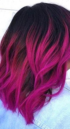 63 stunning examples of brown ombre hair - Hairstyles Trends Bright Pink Hair, Pink Ombre Hair, Vibrant Hair Colors, Brown Ombre Hair, Hair Dye Colors, Cool Hair Color, Pink And Black Hair, Dyed Hair Ombre, Pink Yellow