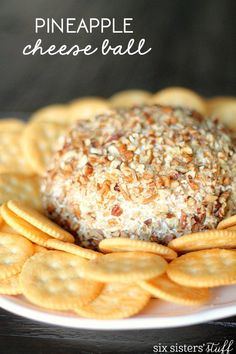 Pineapple Cheese Ball Recipe from SixSistersStuff.com. Perfect for parties and gatherings!