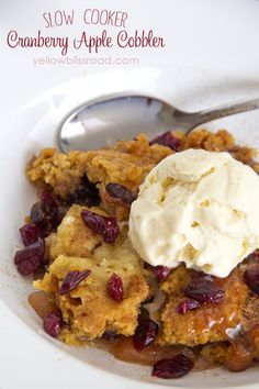 Slow cooker cranberry apple cobbler - so easy to make with cake mix!