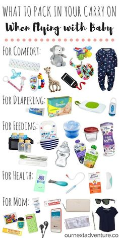 Flying with Baby: Pack these items in your carry on and guarantee a smooth travel day! // Travel with Kids Family Travel What to Pack Travel Tips With Baby, Traveling With Baby, Travel With Kids, Family Travel, Family Vacations, Baby Travel Bed, Traveling Europe, Traveling Tips, Vacation Places