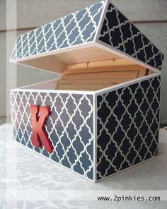 Recipe Box - Wooden Recipe Card Organizer, Navy and Red, Quatrefoil, Nautical, Bridal Shower Gift. $32.00, via Etsy.