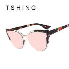 f4107ef6413 TSHING Brand Designer Cat Eye Sunglasses Women Vintage Rose Gold Mirror Sun  Glasses New Fashion Half Frame Cateye Sunglass UV400