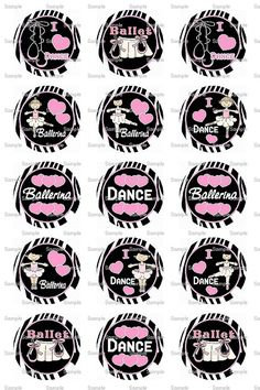 Ballerina Dancer Pink Bottle Cap Images 4x6 by designsbyPM on Etsy, $2.00